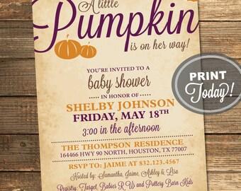 Pumpkin Baby Shower Invitation, Fall, Neutral, Baby Girl, Autumn, Leaves, Purple, Orange, Brown, Printable (Custom Order, INSTANT DOWNLOAD)