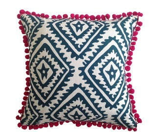 SALE: Ink Navy Jagged Diamond linen cushion cover with hot pink pompom trim