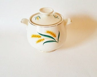 Vintage Golden Yellow Wheat Covered Sugar Bowl  Gold Green Handled Sugar Bowl Farm House Rustic Kitchenware Cottage Chic Wheat Sugar Bowl