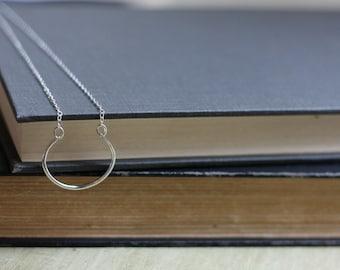 Cuff Pendant Necklace - Silver Paddle Pendant - Half Circle Necklace - Layering Necklace - Horseshoe Pendant - Crescent Pendant Necklace
