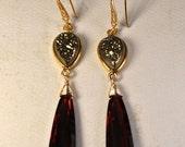 SALE Druzy Earrings - January Birthstone - Garnet Earrings