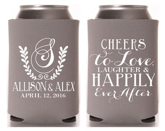 Monogrammed Wedding Favors, Wedding Monogram, Custom Wedding Favor, Cheers to love laughter and happily ever after, Bridal Party Gift, 1072