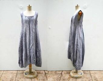 Pure european linen dress M size, flax, hemp, pale lavender grey hand dyed unique fashion design, eco friendly look organic natural art  325