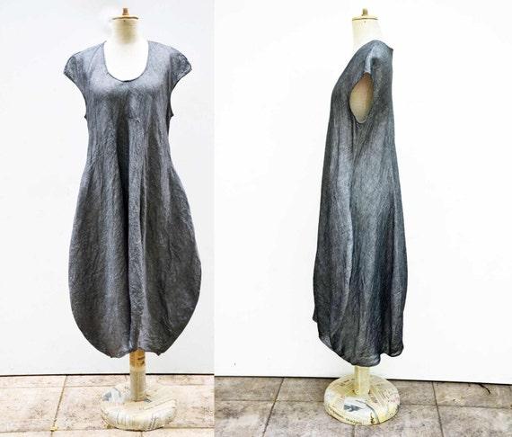 pure linen bauble ballon dress S, M  L size grey unique fashion design hemp flax natural eco organic  wearable art to wear, artsy, woman 320
