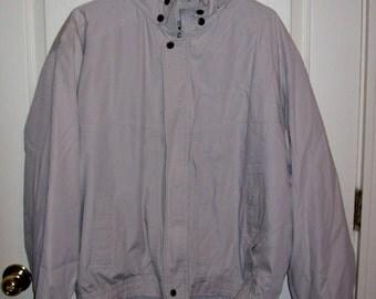 Vintage Men's Beige Zip Front Hoodie Jacket Coat Towne by London Fog Large Only 5 USD