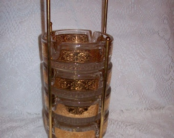Vintage Mid Century Modern Stacking Glass Ashtrays w/ Brass Holder Set Just 11 USD