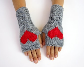 gray arm warmers with heart knitted mittens fingerless gloves Valentine gift wool wrist warmers merino mittens