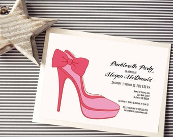 Instant Download - Printable Pink Shoe Invitation - Shower, Bachlorette Party, Birthday Party