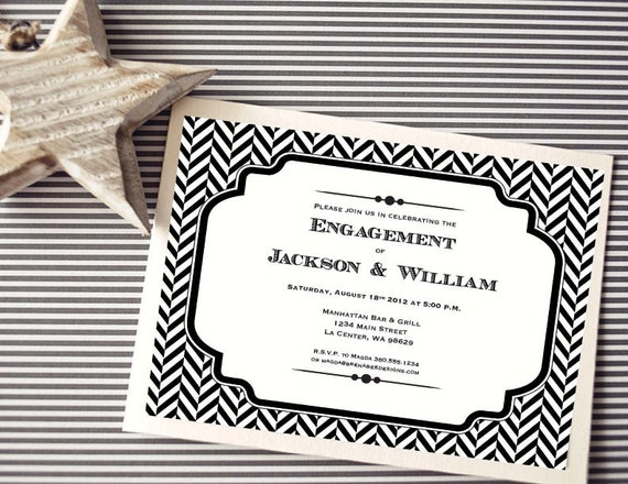 Instant Download - Jackson Herringbone - Black - Shower, Birthday, Engagement Party Invitation, Custom Printable