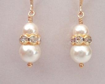 Gold pearl earrings - Pearl drop earrings - Petite pearl earrings - 14k gold over sterling ear wires ~ Wedding earrings ~ Bridesmaid GIFT