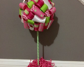 Watermelon Ribbon Topiary Centerpiece Pink and Green Birthday, Baby Shower, Bridal Shower Party Decor