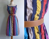 Vintage 80's Circus Tent Striped Textured Sun Dress S or M