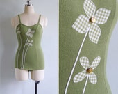 Vintage 50's CATALINA Moss Green Pinwheel Flowers Swimsuit XXS or XS