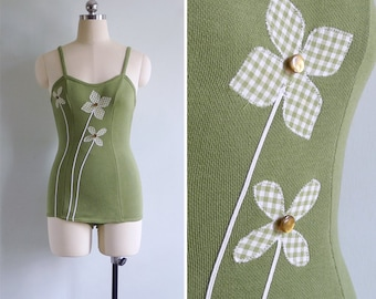 15% Code - MAR15OFF - Vintage 50's CATALINA Moss Green Pinwheel Flowers Swimsuit Xxs or Xs