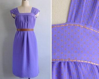 Vintage 80's Purple & Orange Polka Dot Pinafore Dress XS