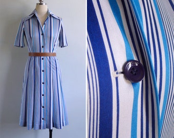 Vintage 80's Read Between The Lines Blue Polyester Shirt Dress XS or S