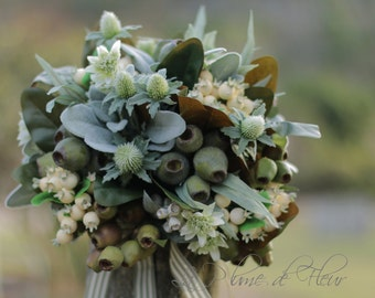 Rustic country style wedding bouquet for bride, bridesmaids. Green, cream bouquet. Thistle, gumnuts, eucalyptus, lambs ear and wildflowers.