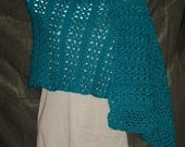 Dark Teal/Pagoda Hand Crocheted Stole Wrap - Prayer Shawl - Bridal Shawl
