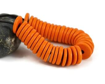25 Mykonos Washer - 13mm Orange - Greek Ceramic Round Washer