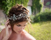 Silver Crystal Halo, Boho Wedding Hair Vine, Vintage Headpiece, Bridal Rhinestone vine, silver crystals - HB626
