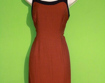 Vintage 80s 90s Womens Fall Burnt Orange Gothic Bodycon Dress Size Small Avant Garde Evening Witch Halloween Costume