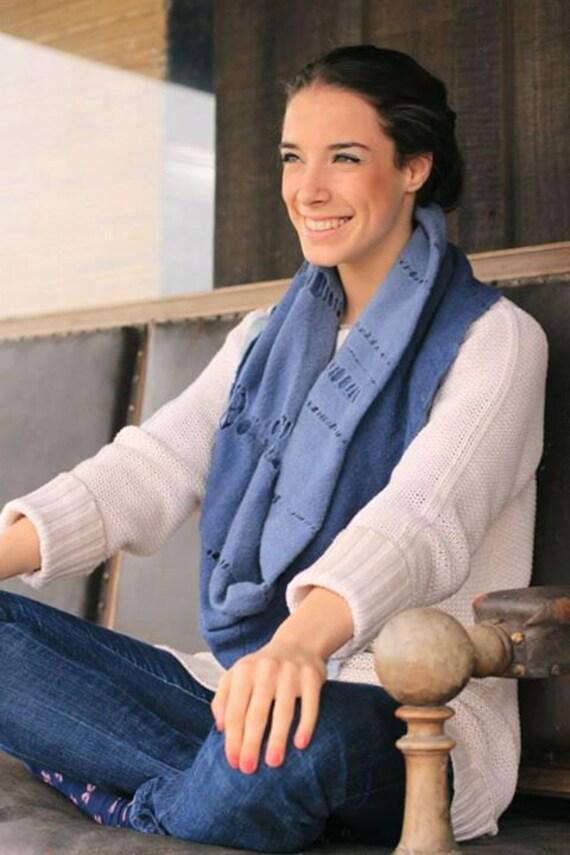 Bohemian Chic blue jean scarf, Distressed Boyfriend Infinity Scarf, Ripped Lace Cutouts, Cowl Wrap Merino wool felt