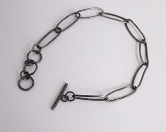 On Sale!  Black Bracelet with Hammered Silver Oval Chains - Rustic Style Handcrafted