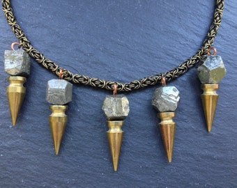 Sample - Pyrite Spike Collar Necklace - Brass