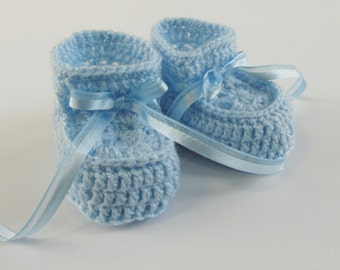 Crochet Blue Baby Booties for Newborn Boys and Infants Up to 3 Months
