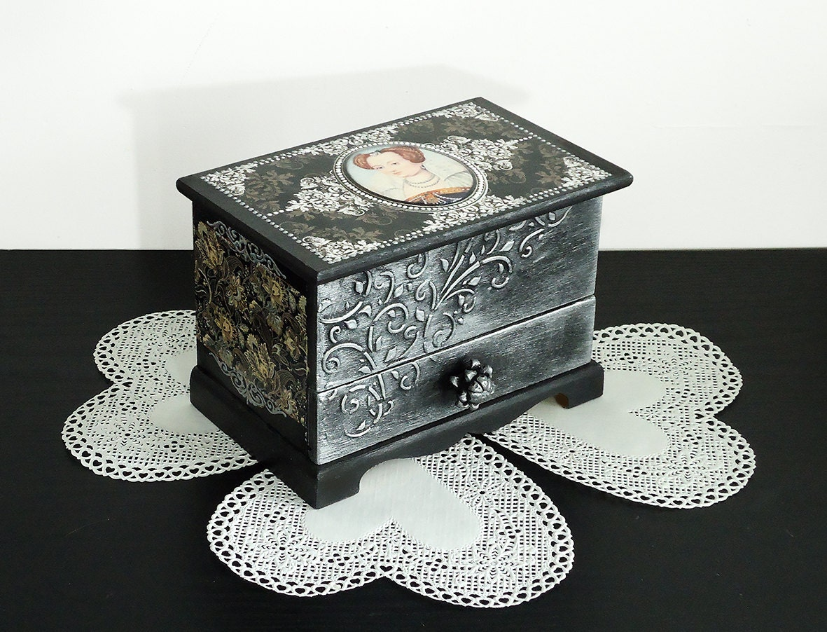 Hand Painted Antique Jewelry Box Black Silver Box Victorian