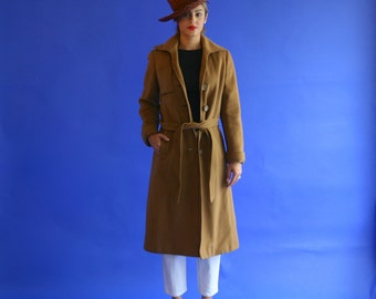 1950s cashmere trench coat/ tan cashmere coat/ brown trench/ small - medium