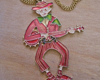 SALE Banjo Player Pendant Necklace Vintage 70s Oversized Figural Articulated Swinging Dude Playing Music Hillbilly Rockabilly Musician