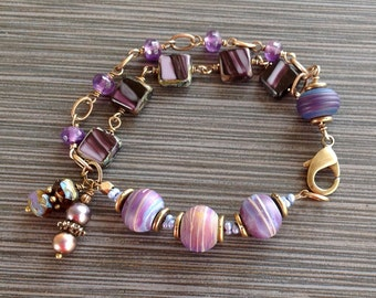 Blue Plum Purple Lampwork Beads, Amethyst Gemstones, Czech Glass Multi-Strand Brass Bracelet