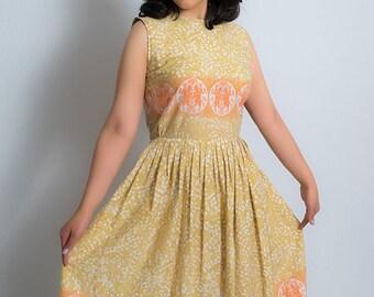 1960s Dress /  60s Dress / Floral Print Dress / Border Print Dress / 1960s Dress / Sun Dress