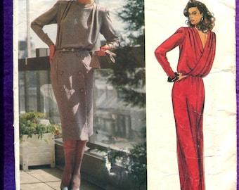 Vintage 1980s Vogue 1449 Dior Evening Dress with Back Drape & Shoulder Pleats Size 10 UNCUT