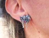 Bird Earrings, Silver Bird Earring, Large Big Stud, Oxidized Sterling Silver