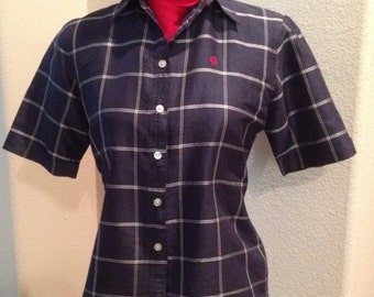 Vintage PreOwned Ralph Lauren Navy Checked Silk Blouse Size Small