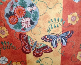 Vintage Fabric Sample Schumacher Cotton Drapery/Upholstery Panel Tangerine Gold with Butterflies