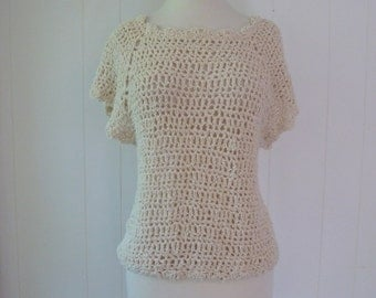 70's Crochet Top Boucle Chenille Woven Blouse Cream Hippie Shirt Keyhole Neck M