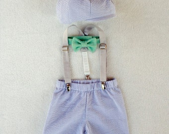 Cake Smash Outfit, FIrst Birthday Outfit, Coming Home Outfit, Spring Summer 2016, Newborn, Ring Bearer, Baby Boy Outfit, Four Tiny Cousins