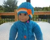 American Girl Doll crochet  Sweater/ 18 inch doll clothes/ doll sweater/ blue doll sweater and hat set