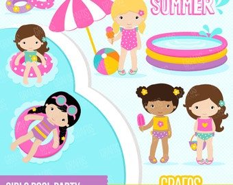 GIRLS POOL PARTY - Digital Clipart Set, Pool Clipart, Summer Clipart, Pool Party