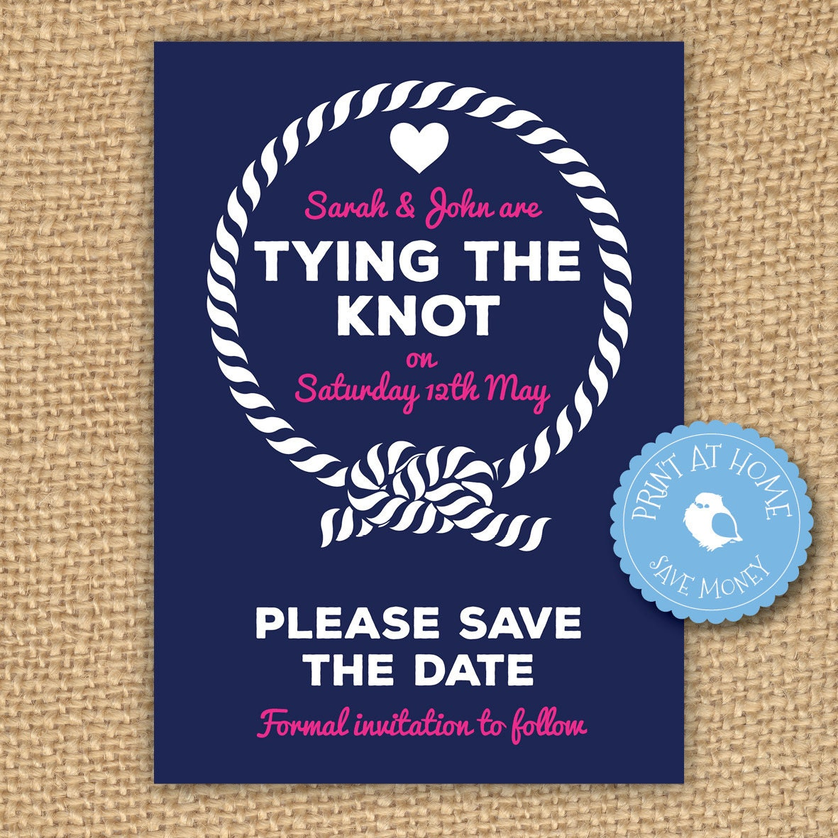 save the date wedding invitation tying the knot tie the
