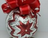 Gorgeous Christmas Ornament, Elegant Brocade, Red Lame, Satin Ribbons