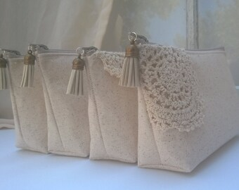 Set of 6 + ONE FREE  Boho Bohemian Bridesmaid Clutches, Clutch Purse, Fall Wedding, Rustic Wedding, Bridesmaid Gifts