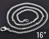 "24 Silver Necklaces - WHOLESALE - Curb Chains - 2x3mm - 16"" - Ships IMMEDIATELY from California - CH477b"