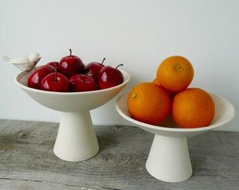 Tabletop Bird Bath Dish, Raised Platform Porcelain Serving Dish or Feeder