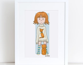 Kitty Cutie Pie - 8x10 Art Print - girl, child, cat, blue, orange, ginger, cat lover, i love my cat, freckles, cute, pets, cheerful, happy