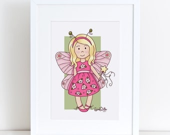 Butterfly Fairy Cutie Pie - 8x10 Art Print - girl, child, pink, green, flowers, spring, faery, fairy wand, blond girl, cute, happy, cheerful