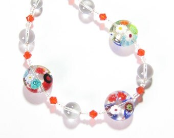 Murano Glass Clear Millefiori Disc Silver Necklace, Illusion Colorful Glass Necklace, Italian Jewelry, Lampwork Glass Jewelry, Gifts For Her
